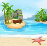 Summer island beach scene. Illustration stock illustration