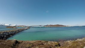 The summer island bridge in northern Norway. On a sunny day stock video footage