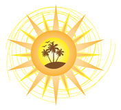 Summer Island Logo. Vector illustration of a summer island with trees and birds inside the sun design Royalty Free Stock Photo