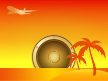 Summer Island with Speaker and Aircraft Royalty Free Stock Image