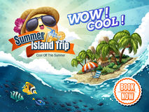 Summer Island Trip tour. Attractive vacation tour package ad for travel agency or blog with tropical elements Stock Images