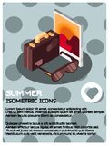 Summer isometric poster. Summer color isometric poster. Vector illustration, EPS 10 Royalty Free Stock Photo