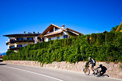 Summer in Italian Alps. Sunny clear weather in Italian Alps. Houses of Castelrotto, Italy, summer Royalty Free Stock Photography