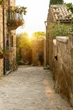 Civita di Bagnoregio. Typical Italian European street royalty free stock image