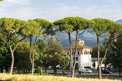 Italy one step. Summer in Italy, Lucca city, green trees, mountains, blue sky Royalty Free Stock Photography