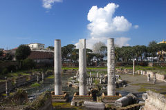 Summer in Italy- Pozzuoli -The temple of Serapide. Summer in Italy-Landscape of Pozzuoli outside the historical side Stock Photos