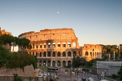 Evening view of the Colosseum royalty free stock image
