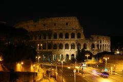 Night view of the Colosseum stock photo