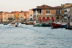 Motor boats on the Grand Canal Royalty Free Stock Photos