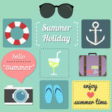 Summer item 2. These are set of summer item ex. sunglasses, cocktail, luggage, camera, umbrella  and text of summer Stock Photos