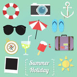 Summer item. These are set of summer item ex. sunglasses, cocktail, luggage, compass, umbrella etc Royalty Free Stock Photos
