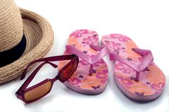Summer Items. Just a few essentials for a day at the beach Stock Image