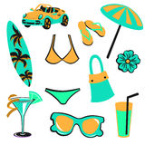 Summer items Stock Image