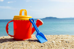 Summer items on the beach. Against the blue sea Stock Images