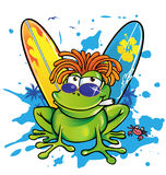 Summer jamaican cartoon frog. With surfboard Stock Images