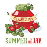 Summer in the jar. Strawberry jam and fresh berries. Bright summer illustration stock illustration