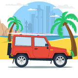 Summer jeep car on beach with palm. Vector web concept of sport, outdoor recreation, adventures in nature, vacation. Travel summer jeep car on beach with palm vector illustration