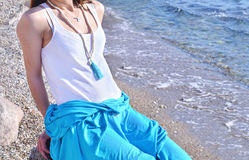 Summer jewelry advertisement at a greek island beach stock images