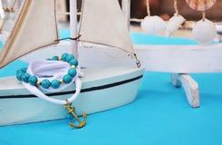 Summer jewelry - agate gemstone bracelet - gold anchor bracelet Stock Photography