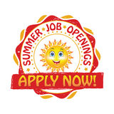 Summer jobs. Apply Now Stock Photo