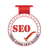 Summer Jobs for graduates label with cartooned sunSearch Engine Optimization SEO Royalty Free Stock Photos