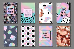 Summer journaling cards. Creative bright summer journaling cards. Retro memphis holographic and copper posters with geometric shapes. Hello, enjoy typography vector illustration