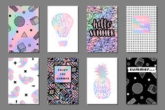 Summer journaling cards. Creative bright summer journaling cards. Retro memphis holographic posters with balloon and pineapple. Hello, enjoy typography. Vector royalty free illustration