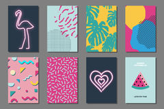 Summer journaling cards. Creative bright summer journaling cards. Retro memphis neon posters with geometric shapes. Vector minimal design for banner, cover vector illustration