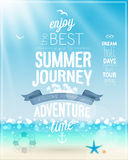 Summer Journey poster with tropical background. Stock Photos