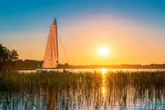Summer joy in lake with yacht at sunset. Nature lake at sundown. Yacht, reeds and blue water royalty free stock image