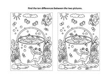 Find the differences visual puzzle and coloring page with frogs in a bucket. Summer joy themed find the ten differences picture puzzle and coloring page with stock illustration
