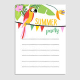 Summer jungle greeting card, invitation. Parrot bird, palm leaves, strelitzia flowers. Party flags.Web banner, background. Stock Images