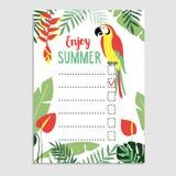 Summer jungle greeting card, invitation. Wish list. Stock Image