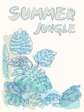 Summer jungle palm leaves illustration Stock Photo