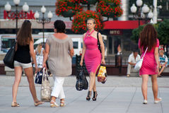 Summer in Kaliningrad. People walking in the city of Kaliningrad, Russia royalty free stock image