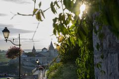 sunset on the castle in Kamianets-Podilskyi stock photos