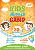 Summer Kid Camp Flyer. Vector cartoon background, summer fest template, kid party invitation royalty free illustration