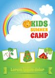Summer Kid Camp Template, Flyer layout Royalty Free Stock Photo