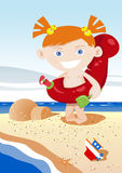 Summer kid having fun. Kid playing at the beach royalty free illustration