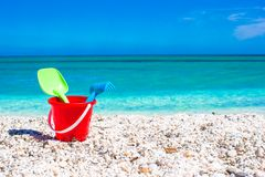 Summer kid's beach toys in the white sand Stock Photo
