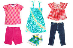 Summer kid's clothes isolated on white. Stock Images