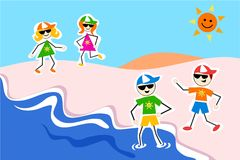 Summer kids. Playing at the beach royalty free illustration