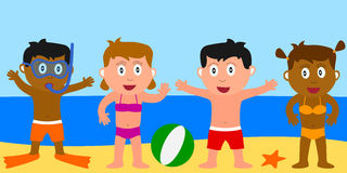 Summer Kids. Four happy kids on the beach. Eps file available Stock Photography