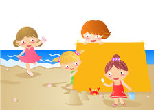Summer Kids. Four happy kids on the beach.vector Royalty Free Stock Photo