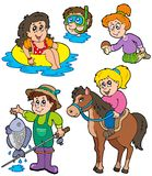 Summer kids activities collection stock illustration