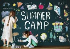 Summer Kids Camp Adventure Explore Concept.  stock images