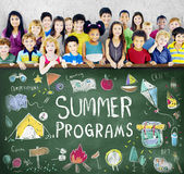 Summer Kids Camp Adventure Explore Concept. Summer Programs Kids Camp Adventure Concept stock photos
