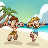 Cartoon kids enjoying summer vacations on the beach. Clip art. Vector illustration with simple gradients. Some elements on separate layers vector illustration