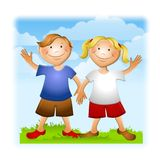 Summer Kids Holding Hands Waving. An illustration featuring a boy and girl holding hands and waving with a summer theme royalty free illustration