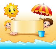 Summer kids holding a paper scrolls with sun smiling and umbrellas at beach. Illustration of Summer kids holding a paper scrolls with sun smiling and umbrellas Royalty Free Stock Image